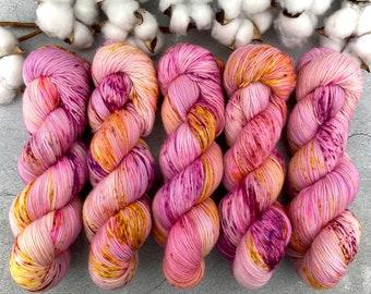 Biscotti Sock   85/15 SW Merino/Wool Sock Weight  Raspberry Torte   Hand Dyed Yarn   Superwash wool