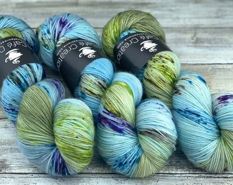 85/15 SW Merino/Wool Sock Weight| Sky Dancer | Hand Dyed Yarn | Superwash wool