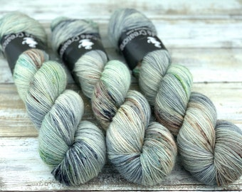 Silver Stellina | Aloe Vera | Hand Dyed Yarn | Superwash wool