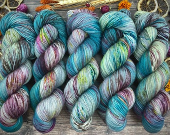 100% Merino SW Fingering Weight | September Storm | Hand Dyed Yarn | Superwash wool