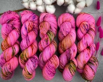 2-ply Fingering Weight | Strawberry Shortcake | Hand Dyed Yarn | Superwash Merino Wool