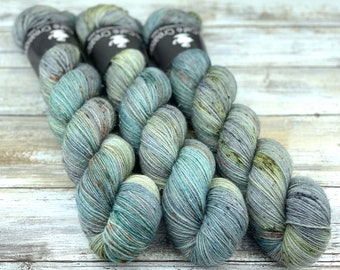 Silver Stellina | Spring Moss | Hand Dyed Yarn | Superwash wool