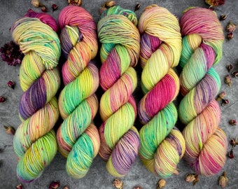 Americano DK Weight   100% SW Merino Wool   Garden Party   Hand Dyed Yarn   Superwash wool