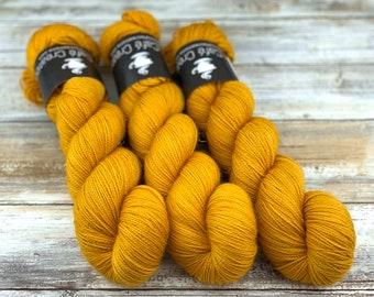 Gold Stellina | Butterbeer | Hand Dyed Yarn | Superwash wool