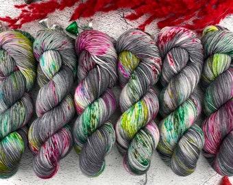 Americano DK Weight | 100% SW Merino Wool | Black Licorice Allsorts | Hand Dyed Yarn | Superwash wool