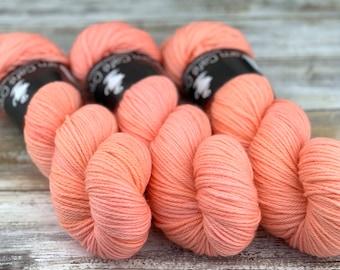 Worsted Weight   Grapefruit   Hand Dyed Yarn   Superwash wool