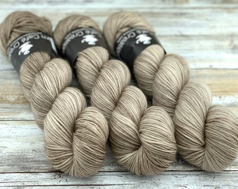 DK Weight | 100% SW Merino Wool | Sand | Hand Dyed Yarn | Superwash wool