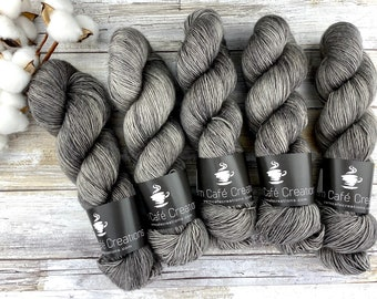 Merino/Linen Blend SW Fingering Weight | Coffee | Hand Dyed Yarn | Superwash wool