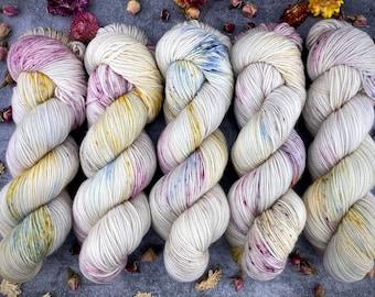Sport Weight | 100% SW Merino Wool | Dried Rose Petals | Hand Dyed Yarn | Superwash wool