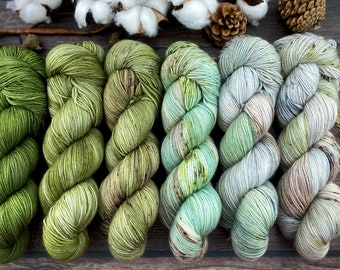 Earthy Fade Kit Six Skein Set   PEPPERMINT Leaf   Superwash Merino Wool