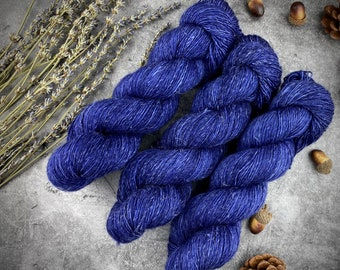 Merino/Linen Blend SW Fingering Weight | Undercurrent | Hand Dyed Yarn | Superwash wool