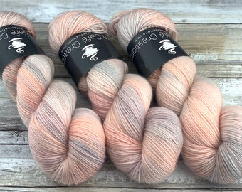 100% Merino SW Fingering Weight | Peaches and Cream | Hand Dyed Yarn | Superwash wool