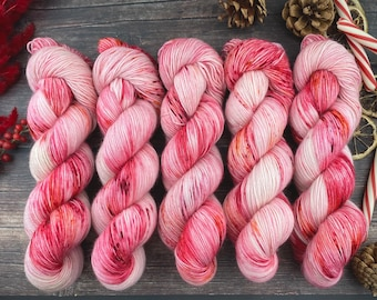 Polwarth Fingering Weight | 100% Superwash Polwarth Wool | Peppermint Stick | Christmas Candy Collection | Hand Dyed Yarn