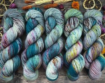 Biscotti Sock | 85/15 SW Merino/Wool Sock Weight| September Storm | Hand Dyed Yarn | Superwash wool