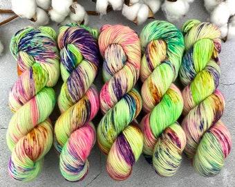 Biscotti Sock | 85/15 SW Merino/Wool Sock Weight| Lime Chiffon | Hand Dyed Yarn | Superwash wool