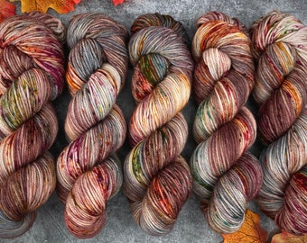 Biscotti DK Weight   85% SW Merino Wool/15 Nylon   Autumn Leaves   Hand Dyed Yarn   Superwash