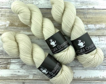 85/15 SW Merino/Wool Sock Weight| Ivory | Hand Dyed Yarn | Superwash wool