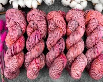 Biscotti Sock | 85/15 SW Merino/Wool Sock Weight| Pomegranate | Hand Dyed Yarn | Superwash wool