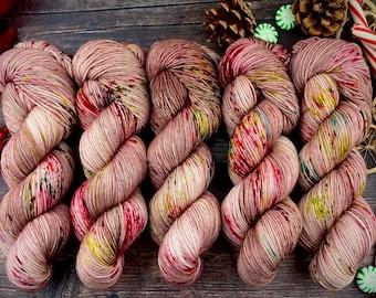 Biscotti Sock | 85/15 SW Merino/Wool Sock Weight| Foil Wrapped Santas | Hand Dyed Yarn | Superwash wool