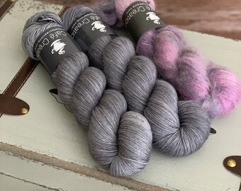 Hand-Dyed Yarn | Merino Wool and Kid Mohair and Silk | Birds of a Feather Kit | Pepper