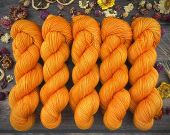 Biscotti Sock | 85/15 SW Merino/Wool Sock Weight| TANGERINE | Hand Dyed Yarn | Superwash wool