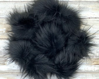 Panther | Pom Pom | Snap on Pom Pom | Solid black Pom Pom |