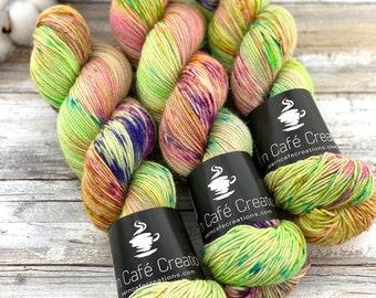 Silver Stellina | Lime Chiffon | Hand Dyed Yarn | Superwash wool