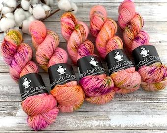Polwarth Fingering Weight | Orange Blossom | Hand Dyed Yarn | Superwash Polwarth