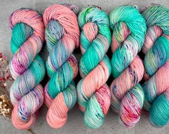 Biscotti Sock   85/15 SW Merino/Wool Sock Weight  Sugarcube Corner   Pinkie Pie Collection   Hand Dyed Yarn   Superwash wool