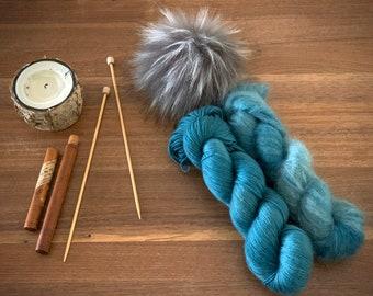 Succulent | Everyday Slouchy Beanie Kit | Superwash Merino Wool/Mohair | Hand Dyed Yarn | Pompom