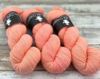 2-ply Fingering Weight | Grapefruit | Hand Dyed Yarn | Superwash Merino Wool