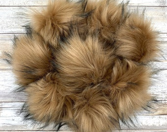 Feline | Pom Pom | Snap on Pom Pom | Tan and Black Pom Pom |