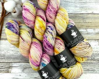 Silver Stellina | Lemon Meringue | Hand Dyed Yarn | Superwash wool
