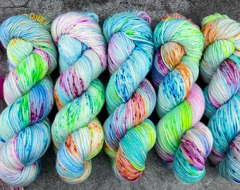 Sport Weight | 100% SW Merino Wool | Party Cannon | Pinkie Pie Collection | Hand Dyed Yarn | Superwash wool