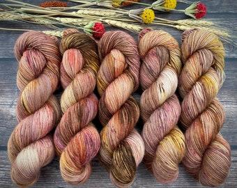 Polwarth Fingering Weight | Maple | Hand Dyed Yarn | Superwash Polwarth