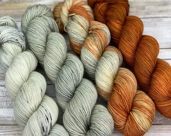 Hand-Dyed Yarn | Merino Wool | Autumn Campfire Kit