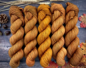 Chai DK Weight | 75 SW Merino Wool/25 Nylon | Roasted Pumpkin | Hand Dyed Yarn | Superwash wool