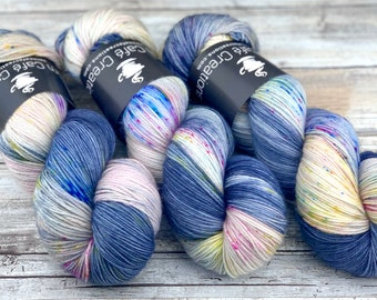 85/15 SW Merino/Wool Sock Weight| Rainbow Storm | Hand Dyed Yarn | Superwash wool