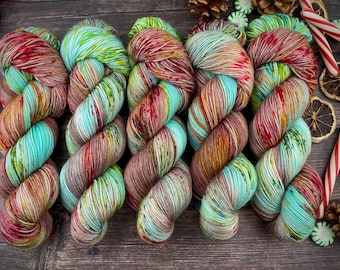 100% Merino SW Fingering Weight | Ribbon Candy | Christmas Candy Collection | Hand Dyed Yarn | Superwash wool