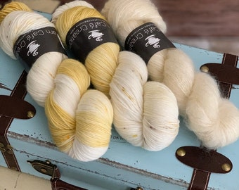 Hand-Dyed Yarn | Merino Wool and Kid Mohair and Silk | Birds of a Feather Kit | Timeless Gold
