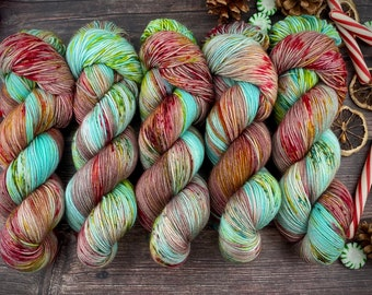Biscotti DK Weight | 85% SW Merino Wool/15 Nylon | Ribbon Candy | Christmas Candy Collection | Hand Dyed Yarn | Superwash Wool