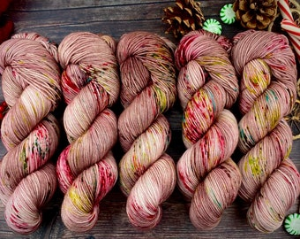 Biscotti DK Weight | 85% SW Merino Wool/15 Nylon | Foil Wrapped Santas | Christmas Candy Collection | Hand Dyed Yarn | Superwash Wool