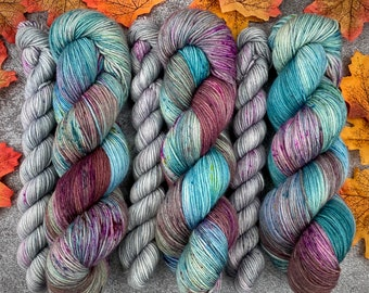 Sock Set   85/15 SW Merino/Wool Sock Weight  Minty Kiss Cocoa and Simmering Pom-Tini   Hand Dyed Yarn   Superwash wool