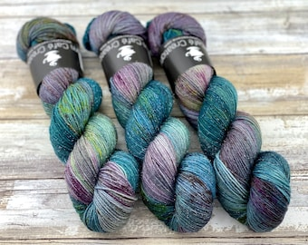 Silver Stellina | September Storm | Hand Dyed Yarn | Superwash wool