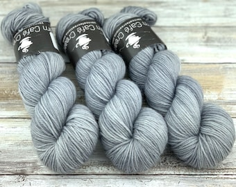 DK Weight Wool/Nylon Blend | White Pepper | Hand Dyed Yarn | Superwash Wool