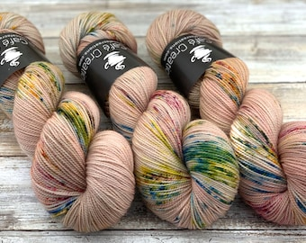 2-ply Fingering Weight | Peach Blossom | Hand Dyed Yarn | Superwash Merino Wool