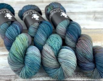 2-ply Fingering Weight   September Storm   Hand Dyed Yarn   Superwash Merino Wool