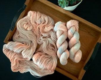 Peaches and Cream | Hand Dyed Yarn | Superwash wool