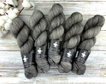 Merino/Mohair Blend SW Fingering Weight | Coffee | Hand Dyed Yarn | Superwash wool