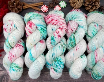 Biscotti DK Weight | 85% SW Merino Wool/15 Nylon | Jelly Wreath | Christmas Candy Collection | Hand Dyed Yarn | Superwash